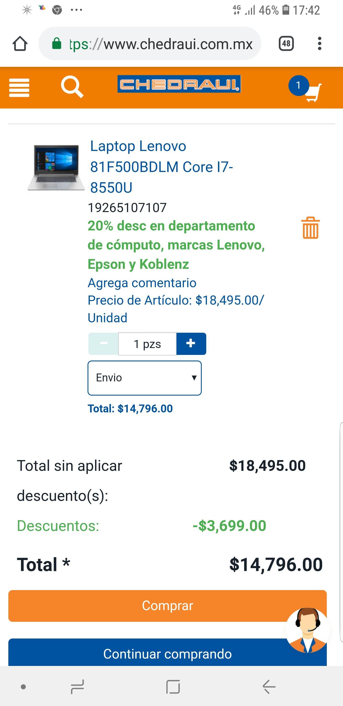 Chedraui: Laptop Lenovo 81F500BDLM Core I7-8550U