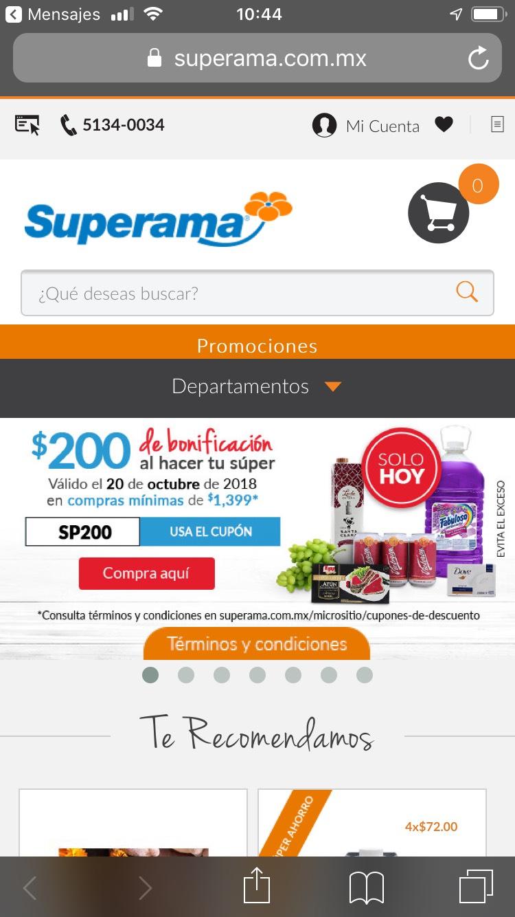 Superama: cupón $200 compra mínima $1,399