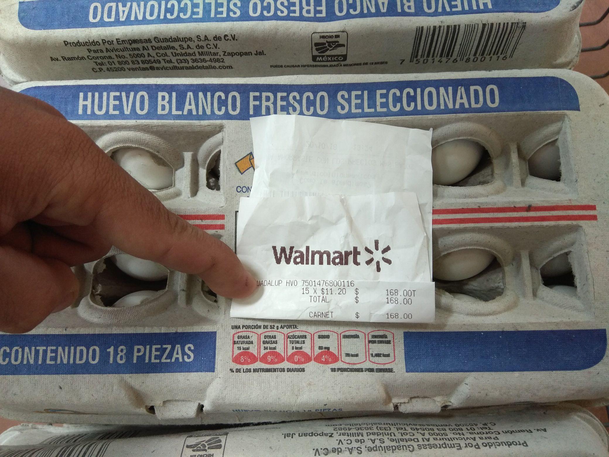 Walmart: 18 pz Huevo blanco Guadalupe a 11.20