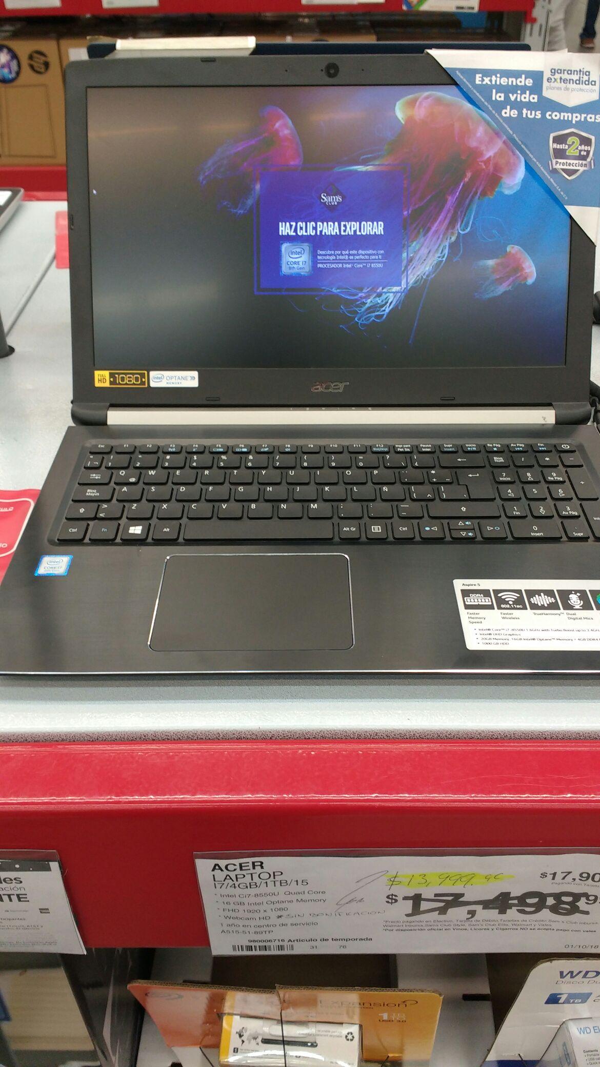 Sam's Club. Laptop Acer i7 8ba gen.