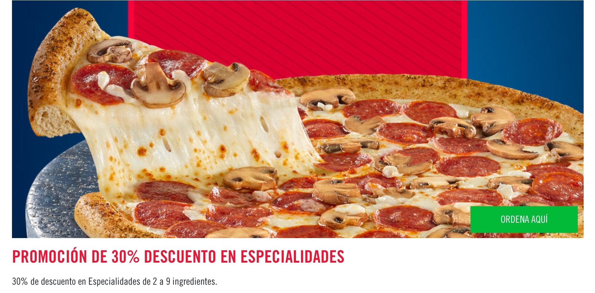 30% de descuento en pizza Dominós de 2 a 9 ingredientes