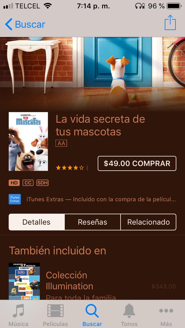Películas Sing! y Mascotas en iTunes
