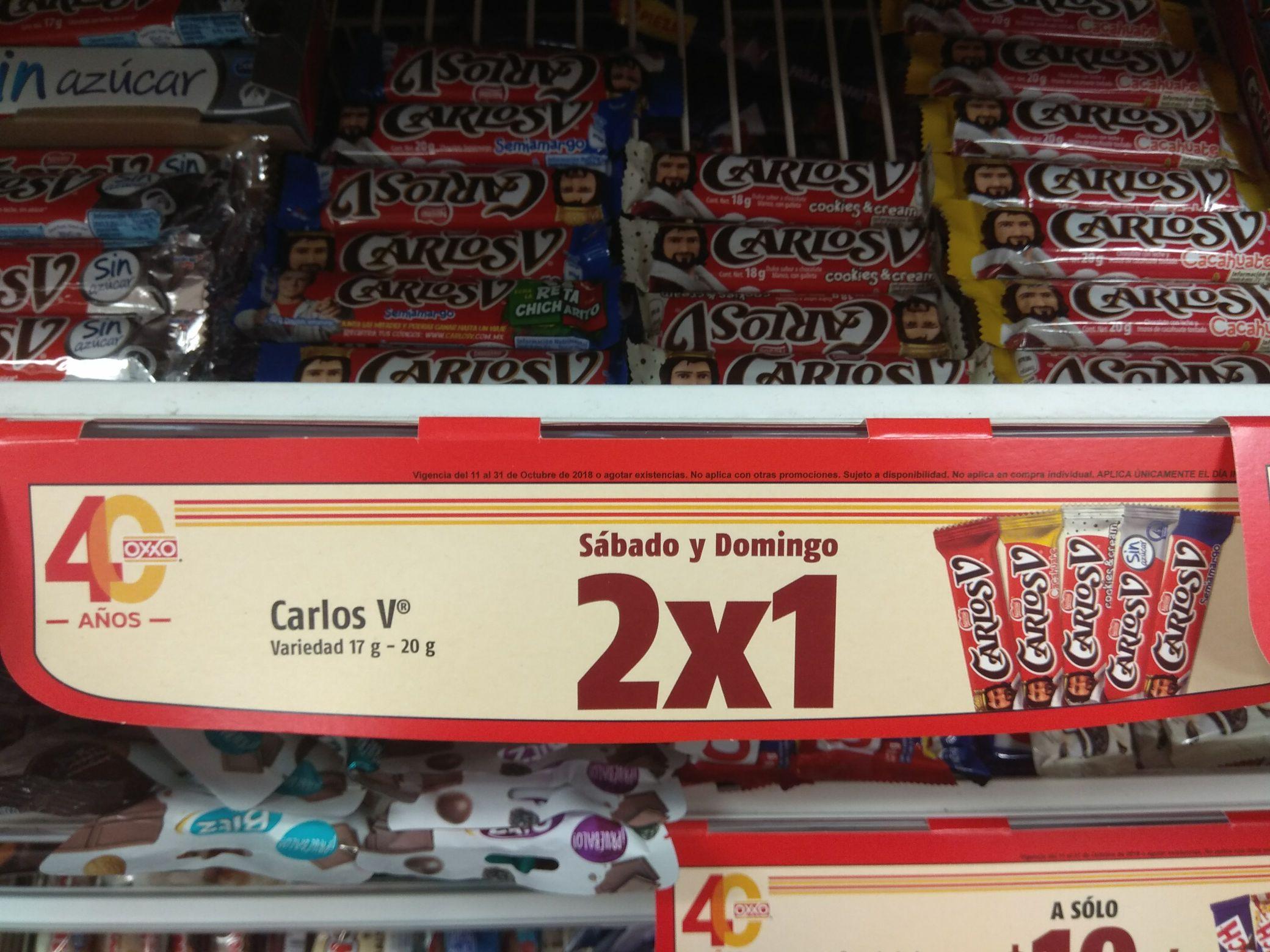 Oxxo: Carlos V varios sabores al 2x1 Sábados y Domingos
