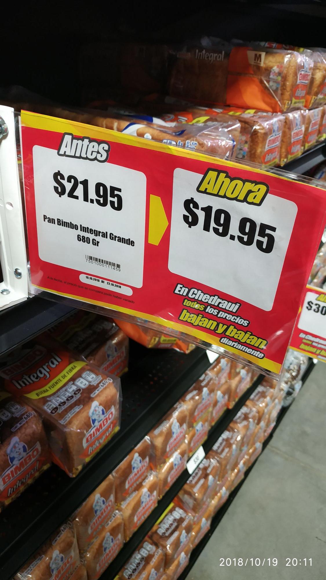 Chedraui: Pan Bimbo integral y otros productos de canasta basica