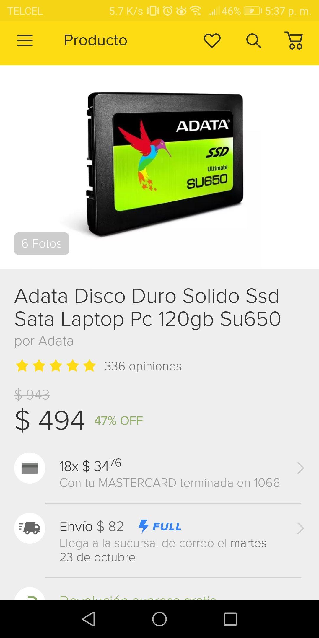 Tienda Oficial de Mercado Libre: Adata disco duro sólido ssd sata laptop PC 120GB