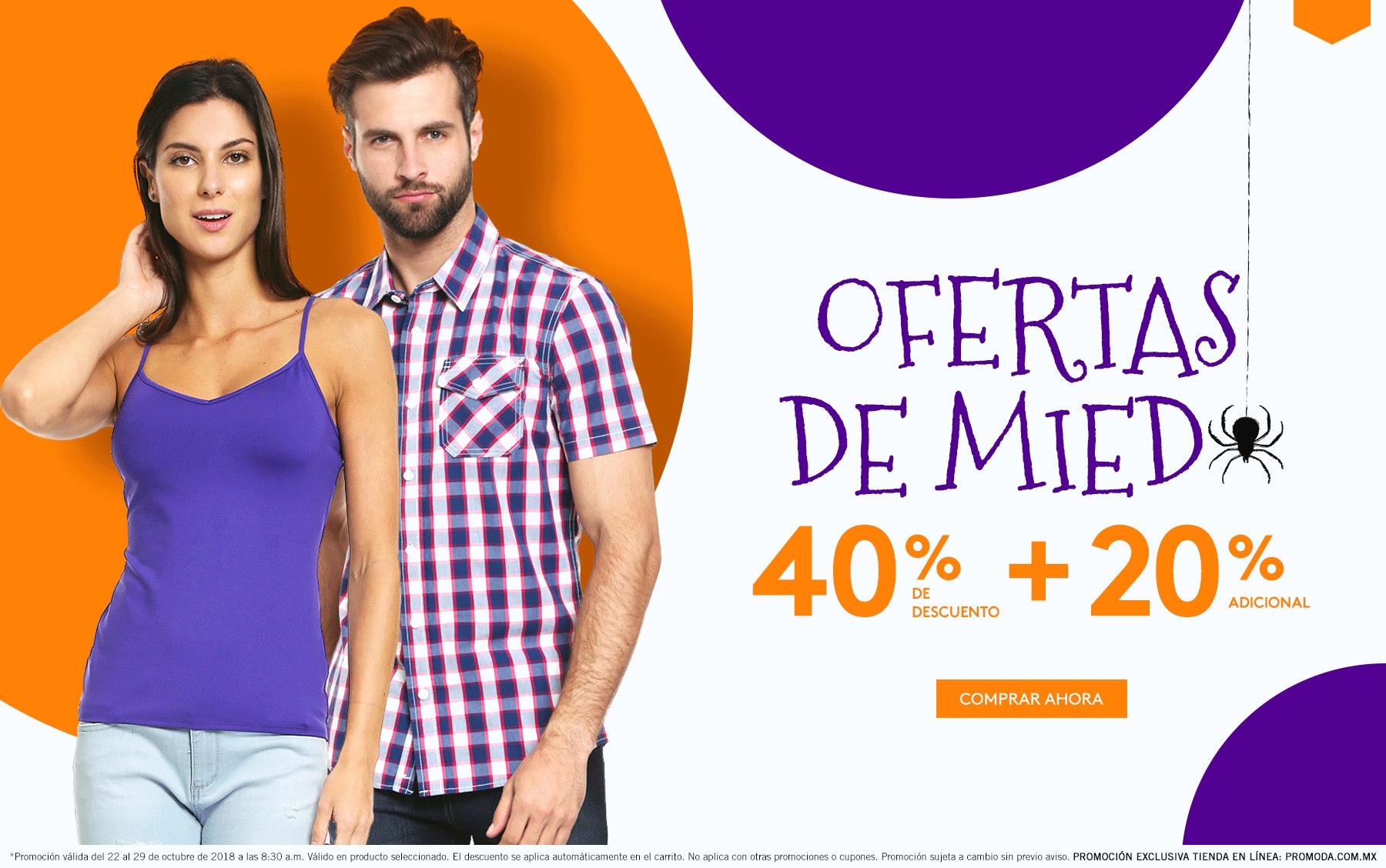 Promoda Outlet: Ofertas de Miedo: 40% de descuento + 15% ó 10% adicional en Tienda en Línea