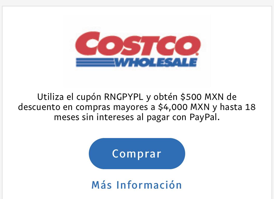 Costco: $500 pesos de descuento en compras de $4mil pagando con PayPal