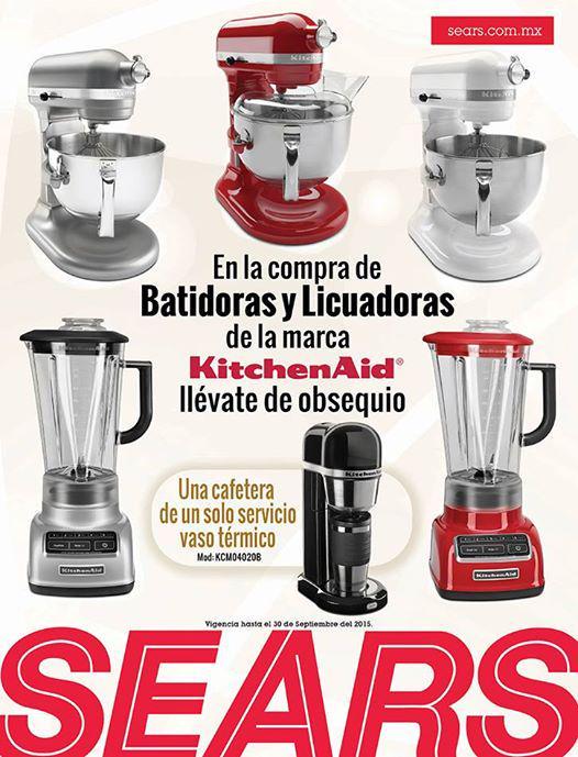 Sears: cafetera con vaso térmico gratis comprando batidoras y licuadoras Kitchen Aid