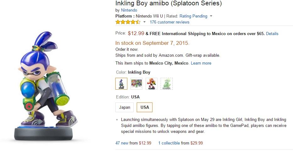 Amazon USA: PreVENTA Amiibo Inkling Boy envío a México