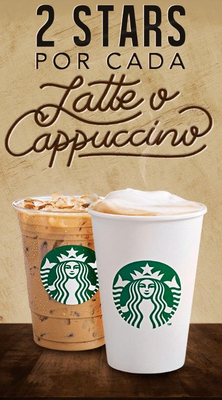Starbucks: 2 stars por cada capuchino o latte