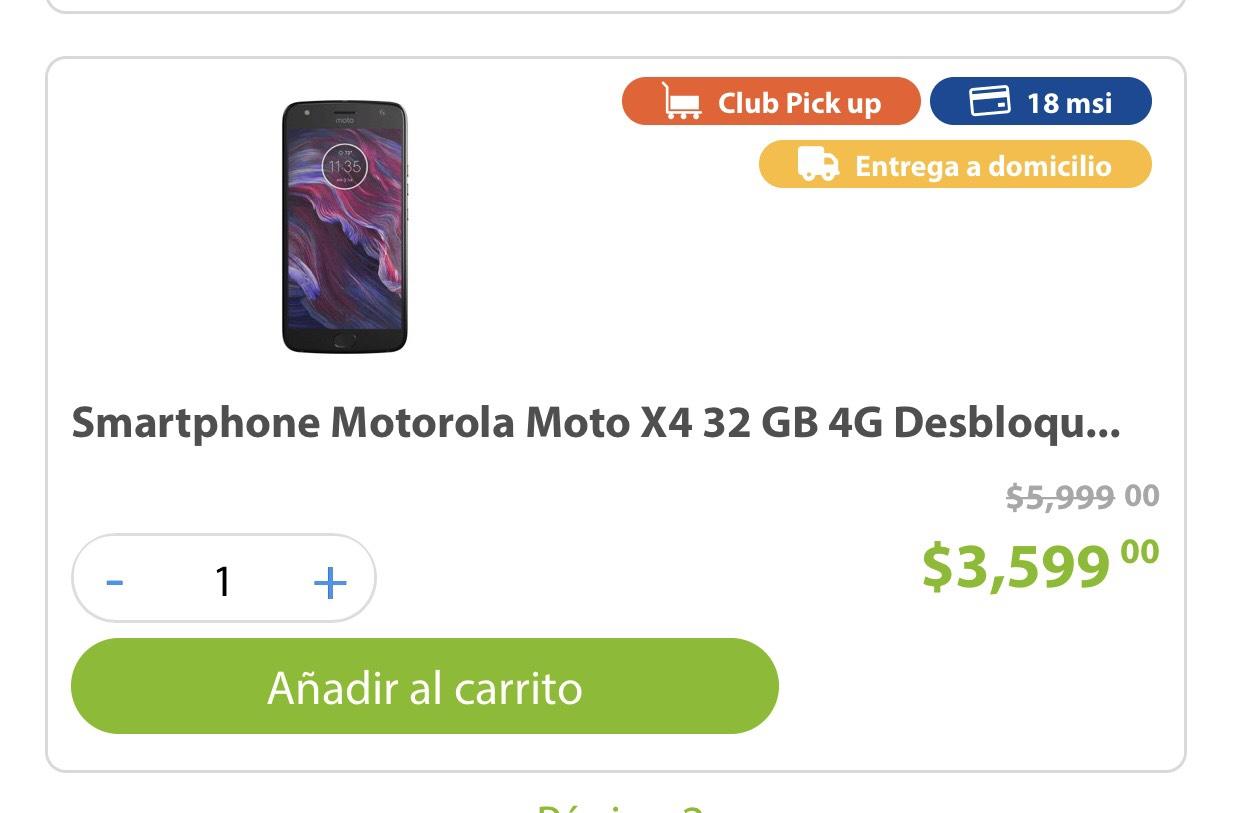 Sam's Club: Motorola Moto X4 32gb Desbloqueado