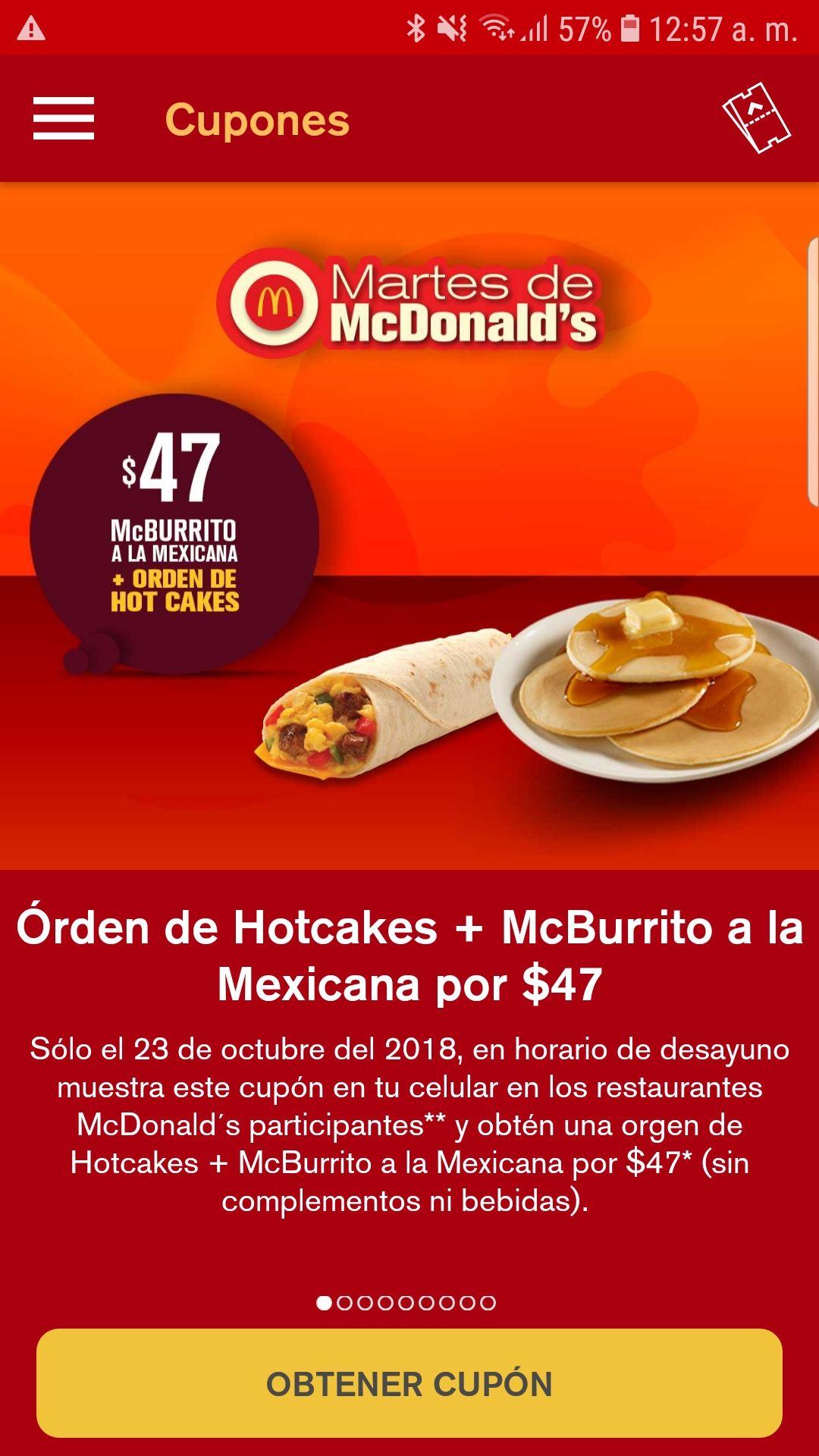 McDonald's desayuno del martes 23 de octubre 2018