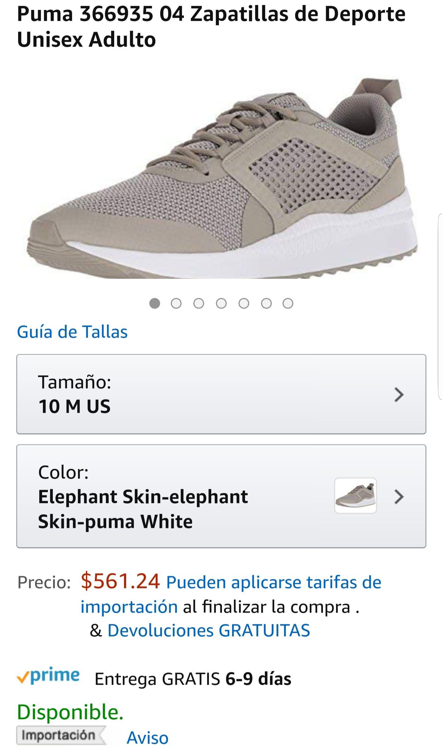 Amazon: Tenis Puma Pacer Next Net (28 MX) Elephant Skin (gris/blanco)