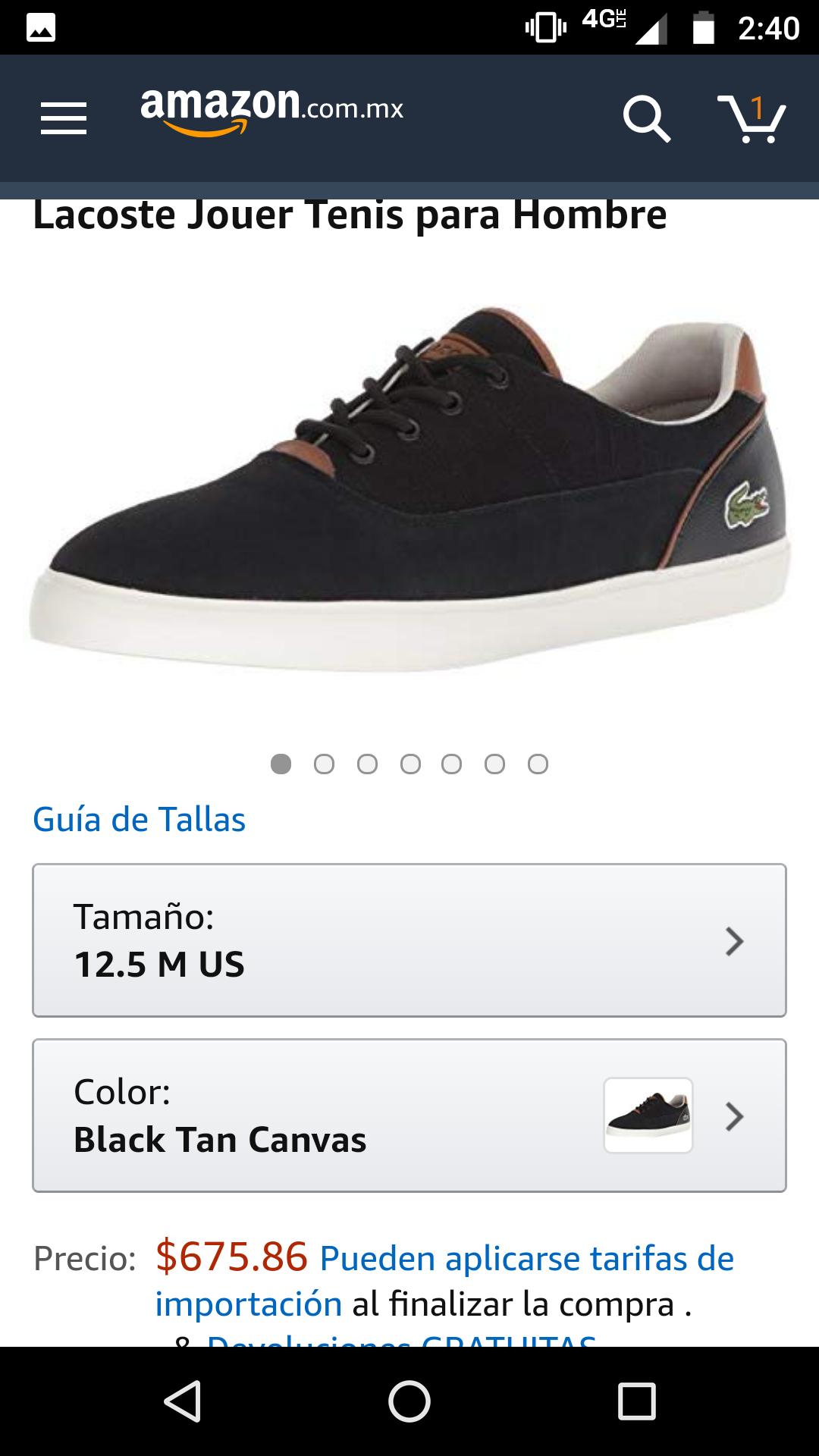 Amazon: Tenis Lacoste Jouer negro, otros colores y precios disponibles (leer descripción)