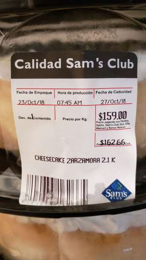 Sam's Club Mérida Aviación: Cheesecake zarzamora $28.75 (Pagando con Membresía Plus)