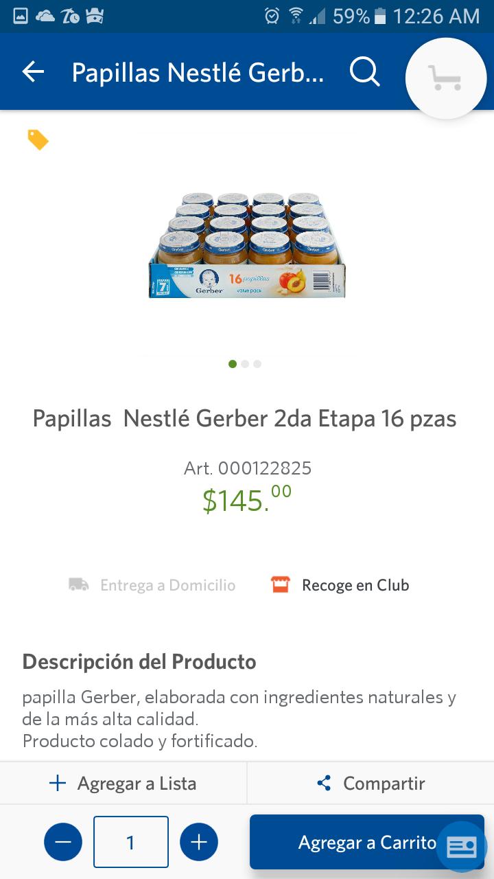 Sam's Club: Papillas Nestlé Gerber 2da Etapa 16 pzas (2x$239)