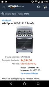 Amazon: estufa Whirlpool de 30""