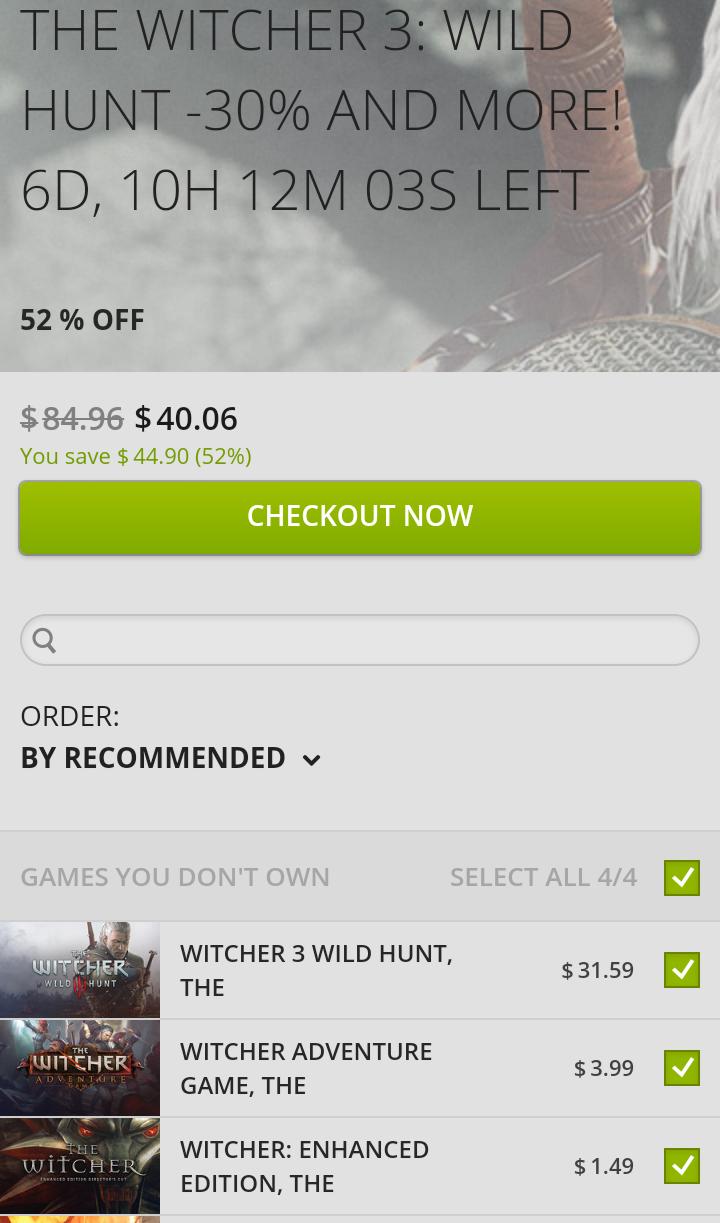 GOG: Juegos de la serie The Witcher en descuento.