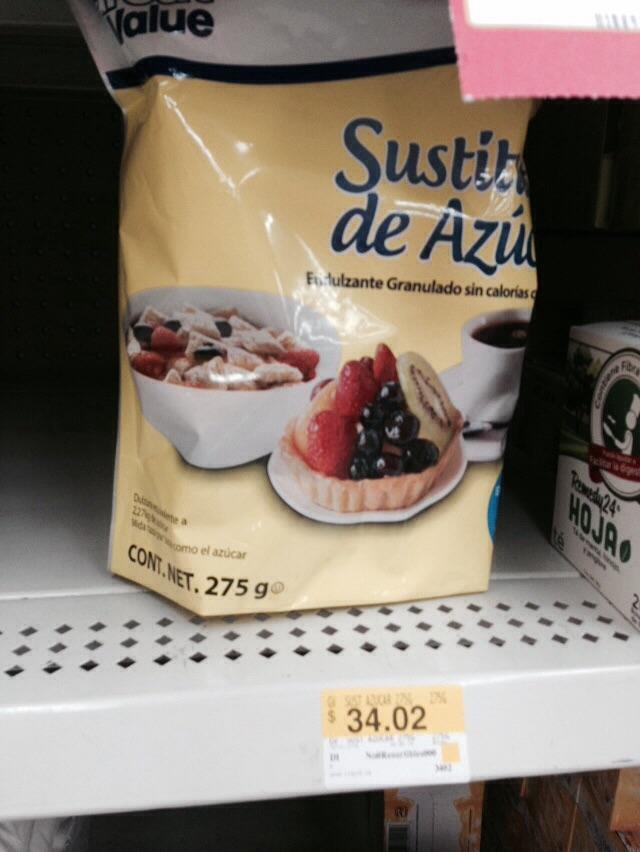 Walmart: Sustituto de azúcar marca Great Value 275 gr. $34.02