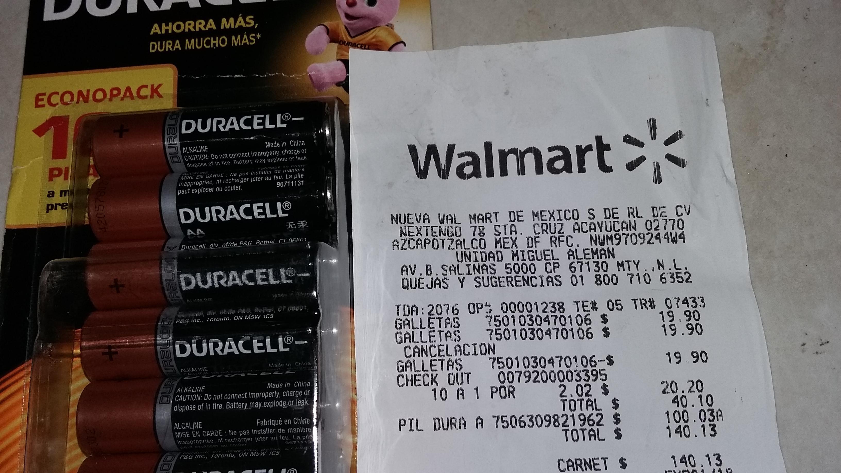 Walmart: 16 pilas Duracell a $100.03