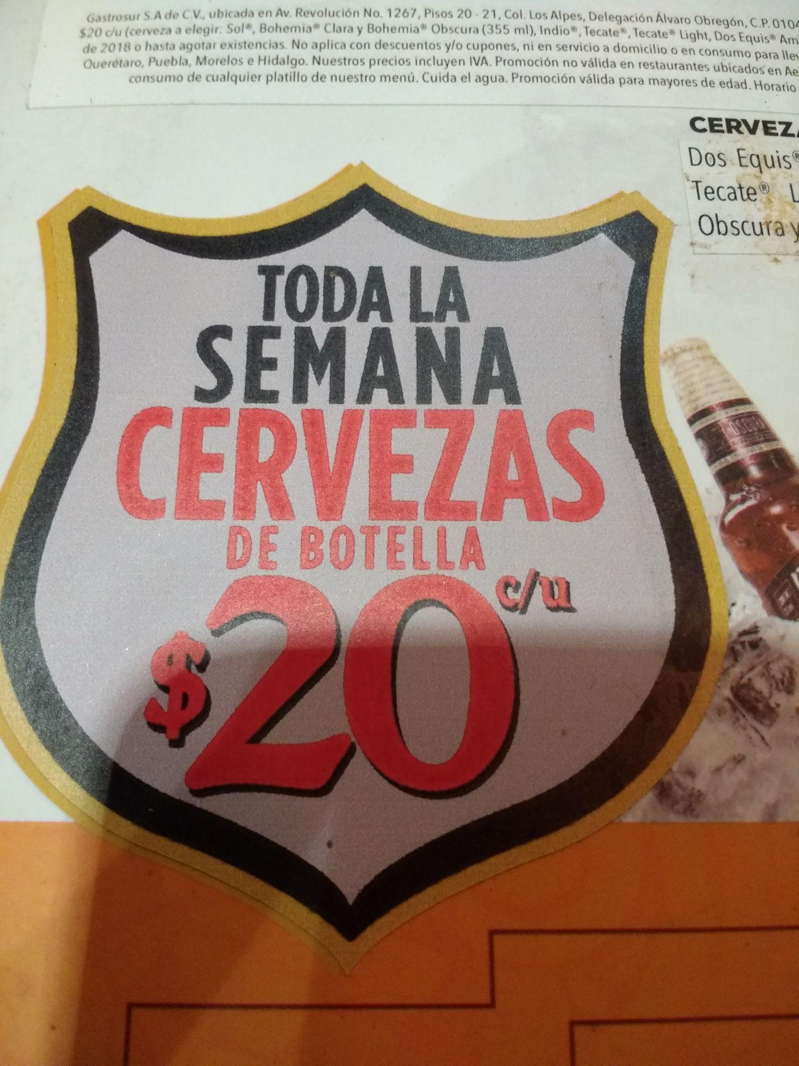 Chilis: Cervezas 20 pesos Toda la semana
