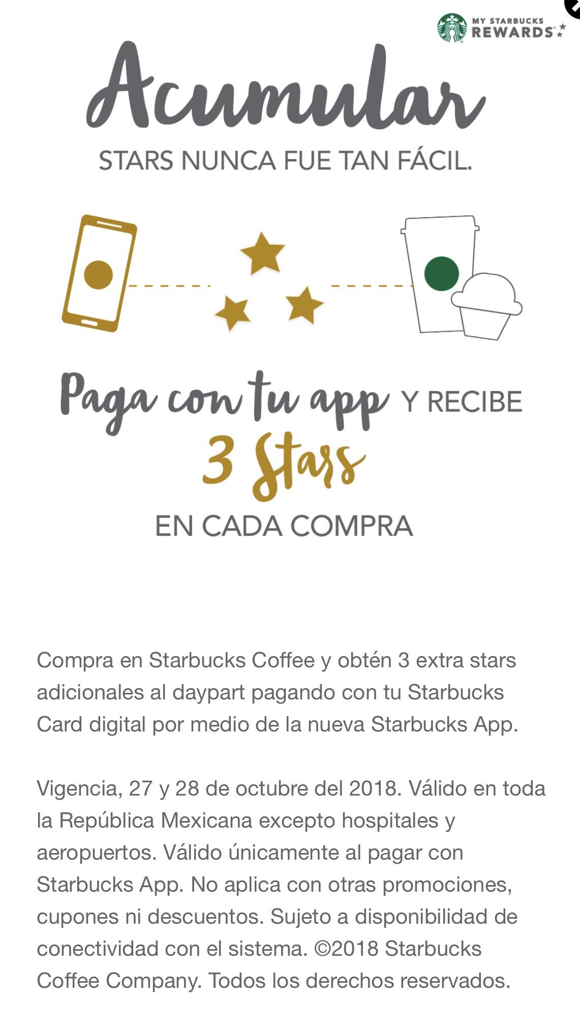 Starbucks: 3 stars adicionales en cada compra en Starbucks al pagar con la app