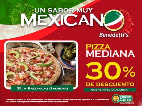 Benedettis: 30% de descuento en Pizza Mexicana Mediana
