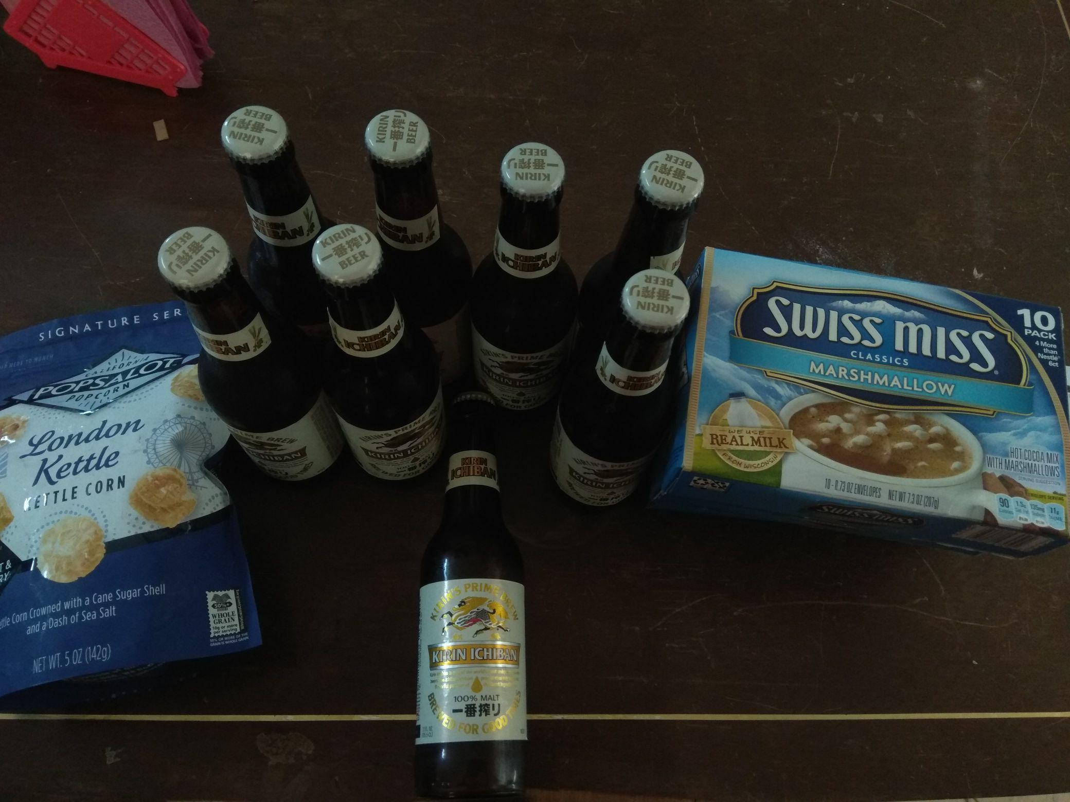 Chedraui Campeche Santa Ana: Cerveza Kirin Ichiban: $6.60, Palomitas Popsalot: $4.50, Polvo para chocolate Swiss Miss- Marshmallow: $3.60