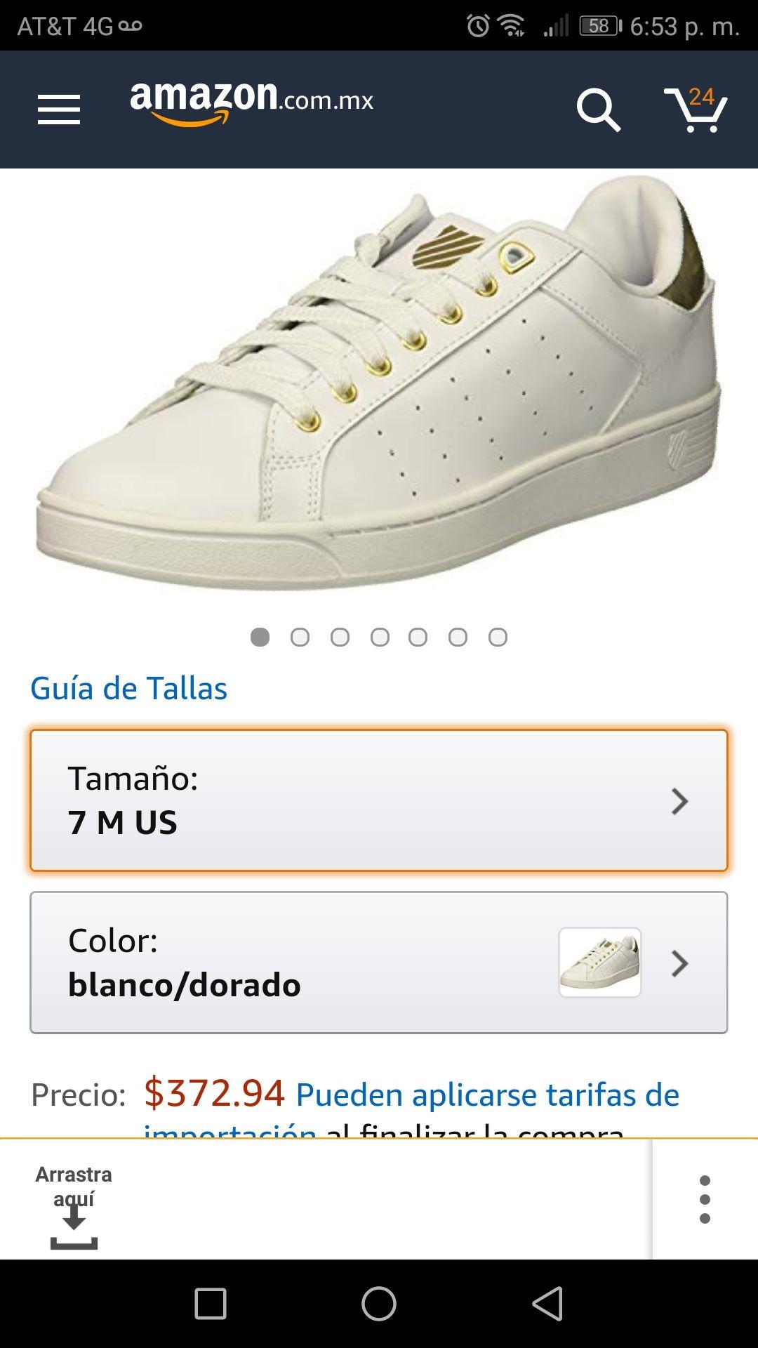 Amazon: Tenis K-Swiss talla 25