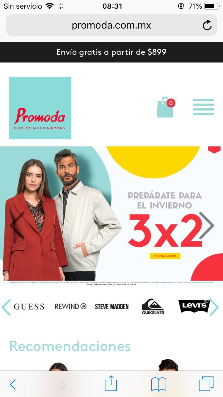 Promoda Outlet: 3x2 y escalonada de hasta 40%