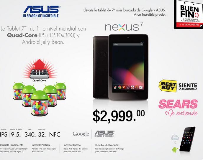 Ofertas del Buen Fin 2013: tablet Nexus 7 de 32GB $2,999