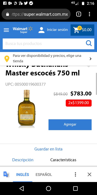 Walmart: Buchanan's Master 2x$1399