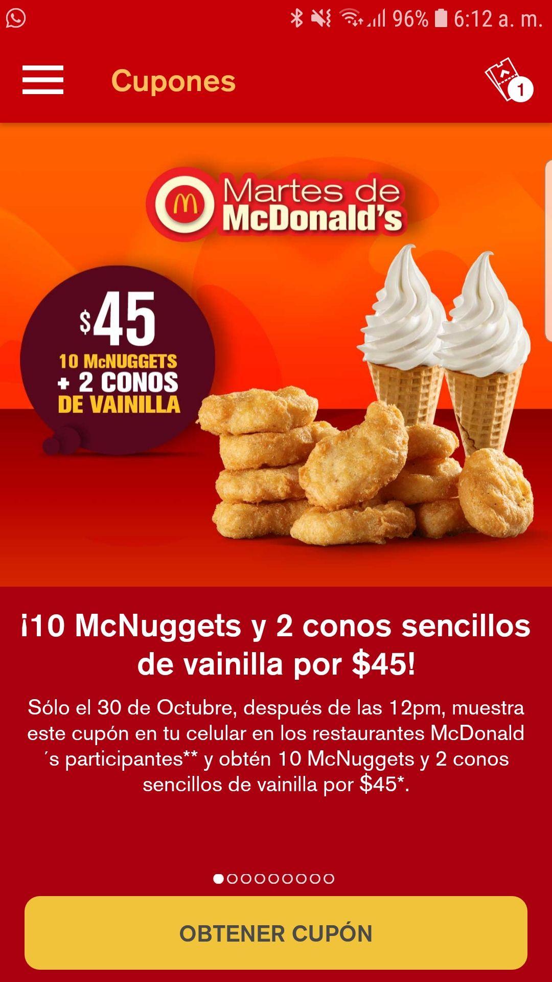 McDonald's para la hora de comer, solo hoy martes 30 octubre 2018