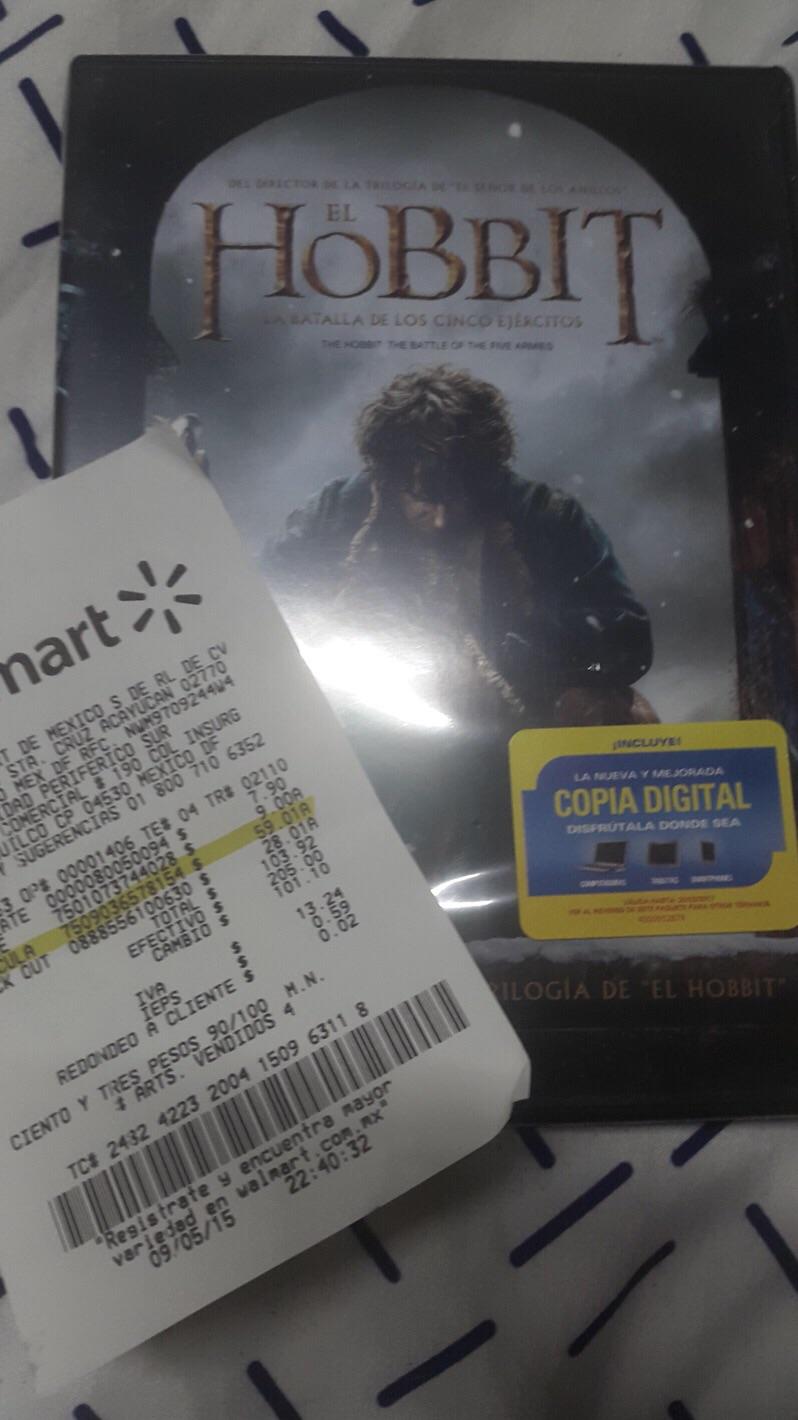 """Walmart: DVD """"El hobbit: La Batalla de los 5 ejércitos"""" de $203 a $59.01. Trilogía en $190"""