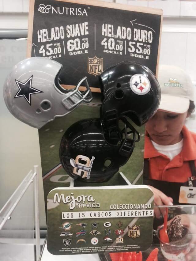Nutrisa: casco de la NFL comprando helado