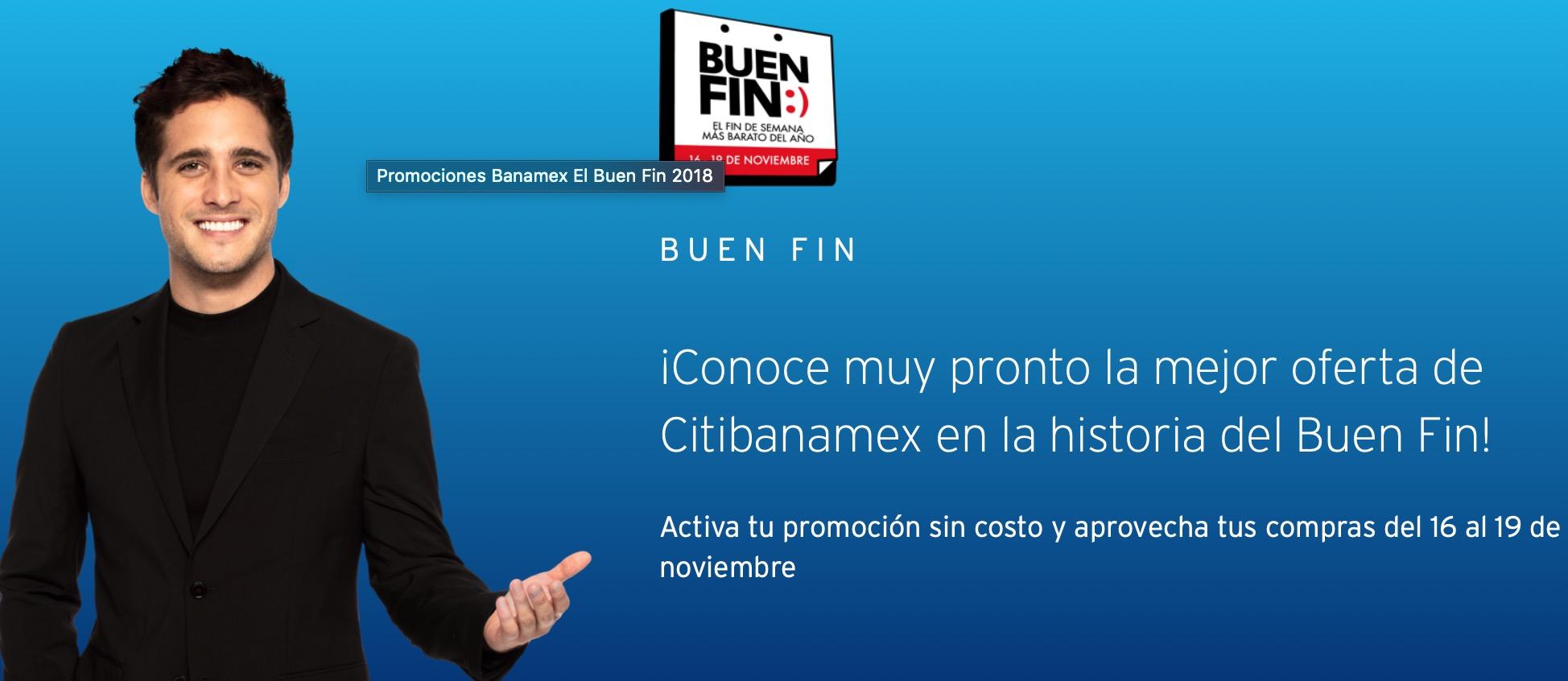 Promociones Buen Fin 2018 Citibanamex: Activación de promoción para el Buen Fin