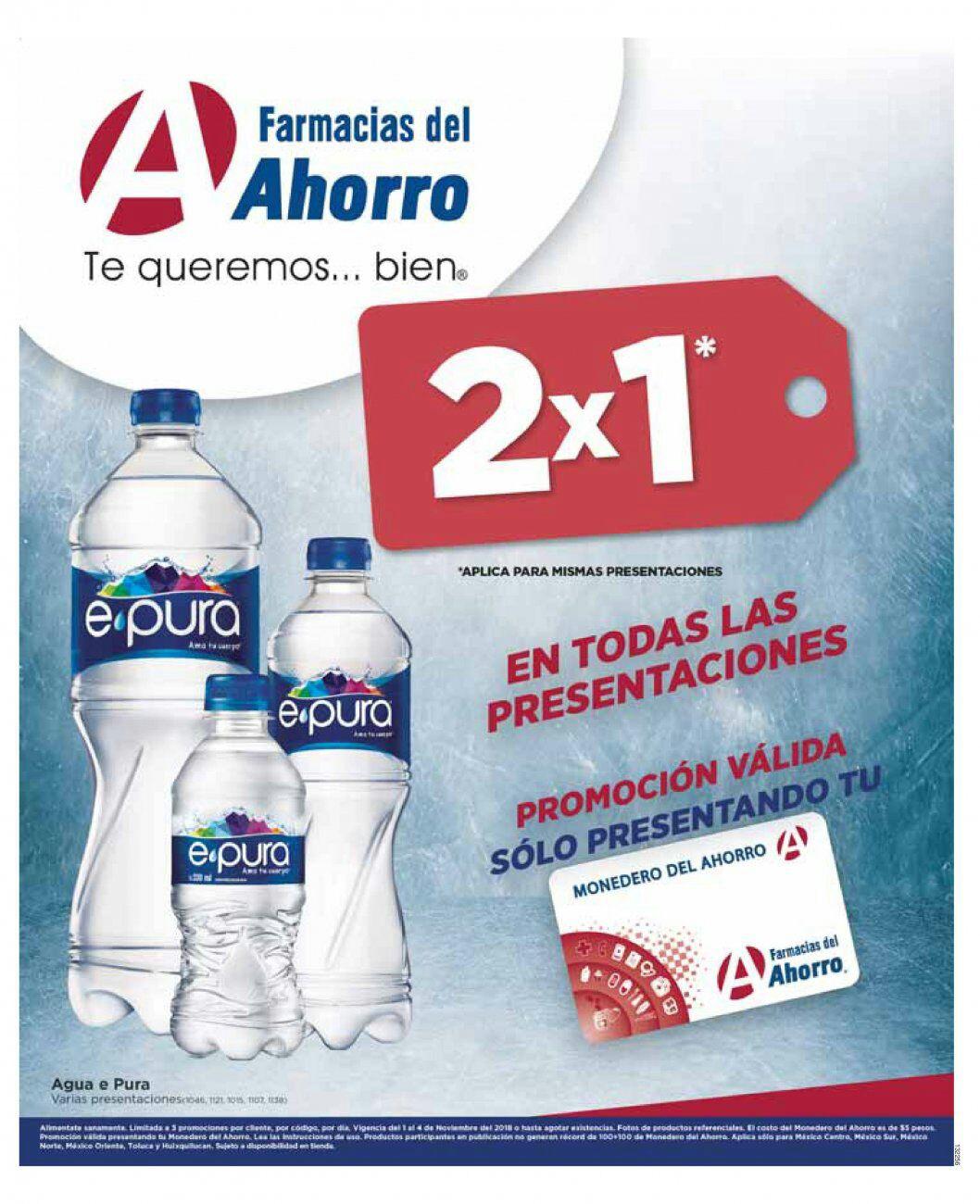 Farmacias del Ahorro: 2 x 1 en agua E-pura en todas sus presentaciones presentando el monedero del Ahorro