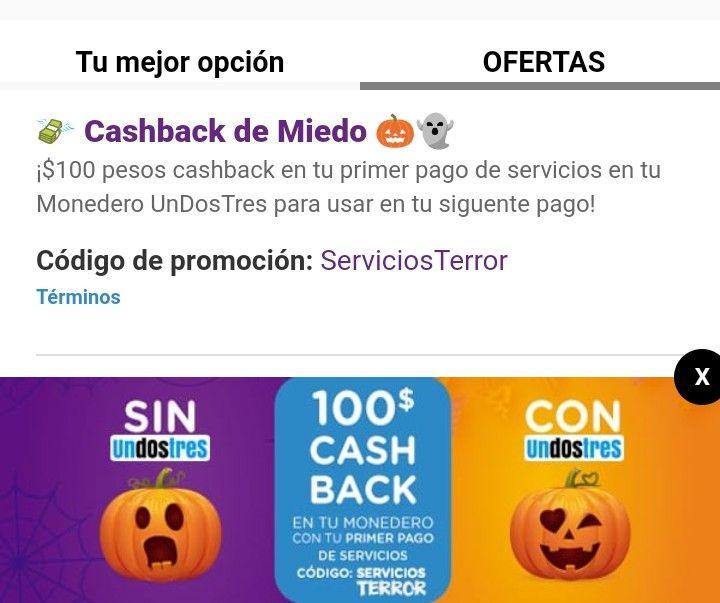 UnDosTres: $100 pesos Cashback En Tu Primer Pago De Servicios
