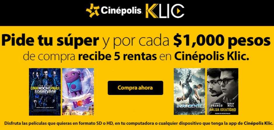5 rentas Cinépolis Klic por cada $1,000 de compras en Walmart súper online (+$100 de bonificación)