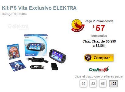 "Pre Buen Fin Elektra: PS Vita + juego y tarjeta 4GB $2,861, LED Smart TV Sony 50"" $8,799"