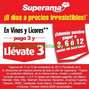 Superama: 3x2 en todos los vinos y licores
