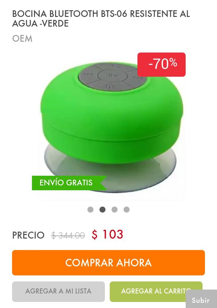Linio: Bocina Bluetooth resistente al agua con envió gratis.