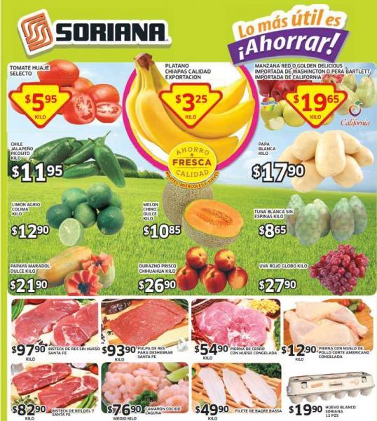 Ofertas de frutas y verduras en Soriana del 19 al 21 de agosto