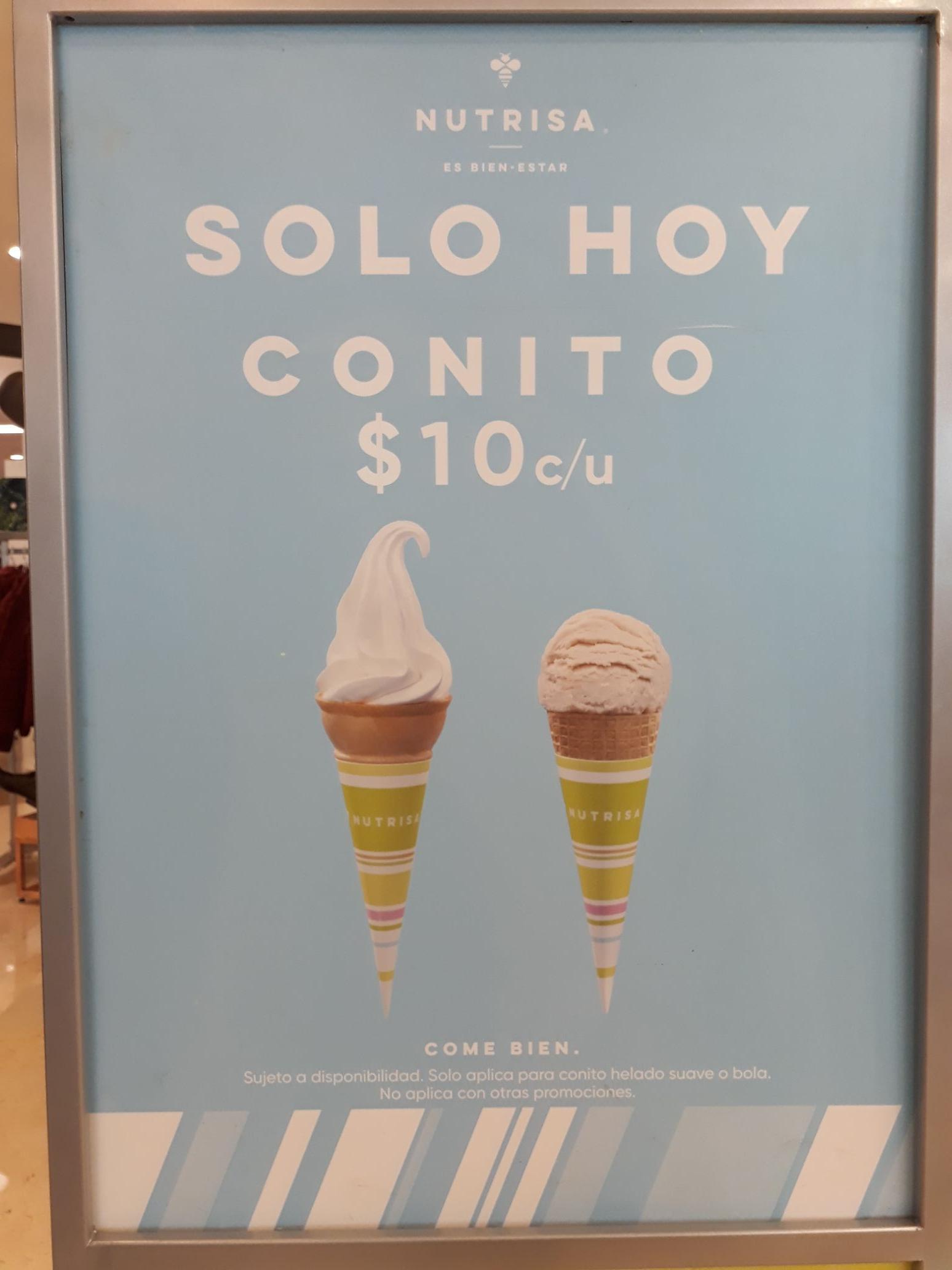 Nutrisa: Cono Sencillo a $10 pesos