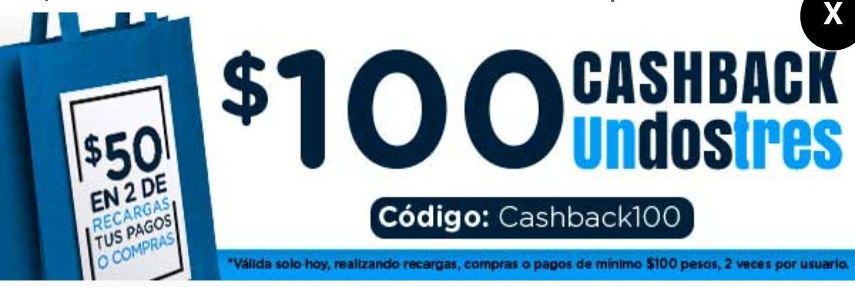 UnDosTres: Flash Sale - $100 Cashback PARA TODOS LOS USUARIOS 2 X USUARIO