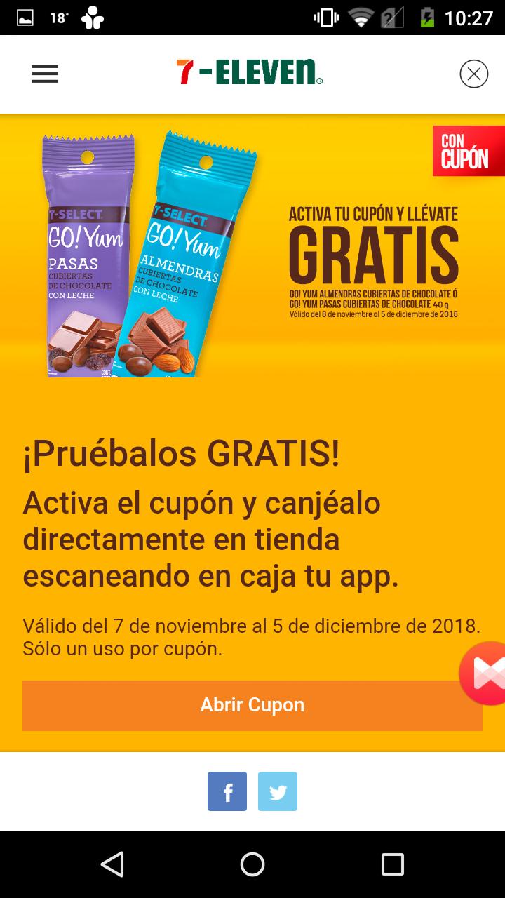 7 Eleven App: cupon para almendras con chocolate o pasas con chocolate gratis y mas