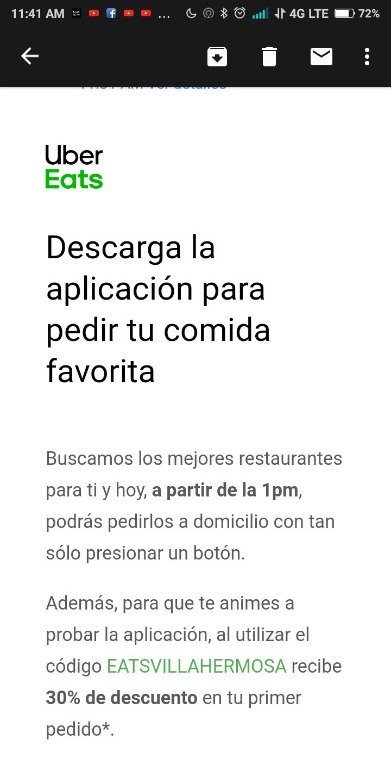 Uber Eats: 30% de descuento (solo Villahermosa)