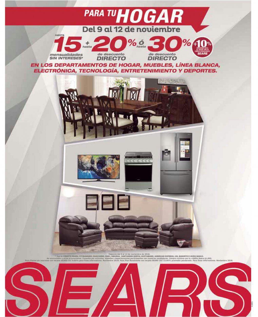 Sears: Hasta 15 MSI + hasta 20% desc. directo... ó hasta 30% desc. directo + 10% adicional con crédito revolvente Sears