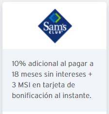 Sam's Club: 10% de descuento y 3 meses de bonificación a 18 meses con banamex buenfin