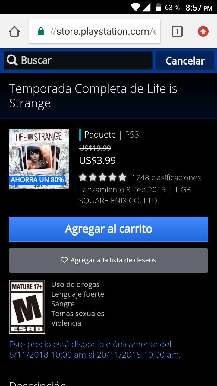 Life is Strange Temporada Completa PS3 a 3.99 USD